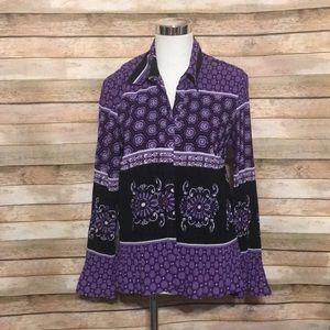 Purple pleated blouse